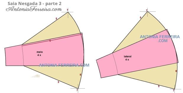 modelagem da saia nesgada