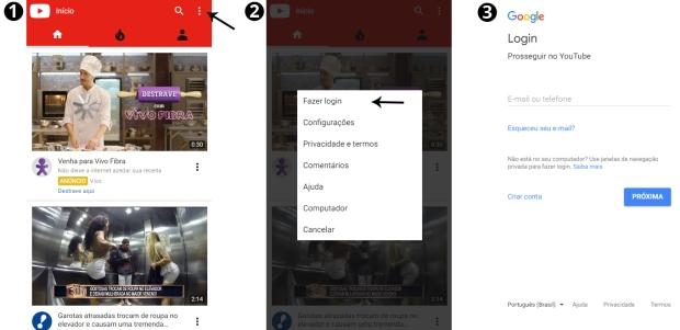 Como fazer login no youtube pelo celular