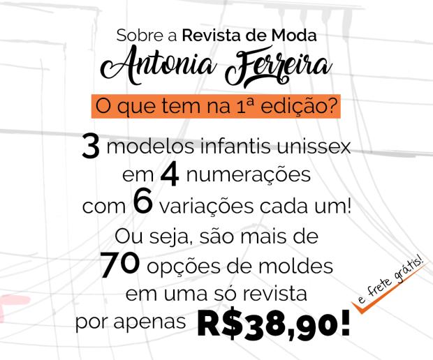 Revista de moda Antonia Ferreira com Moldes Colecionáveis 1ª edição