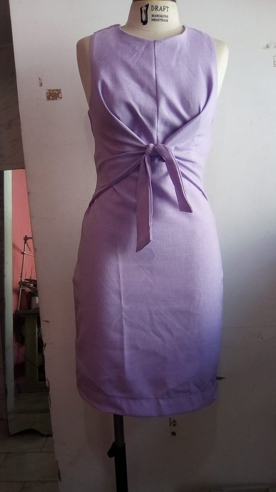 modelagem e costura do vestido amarrado na frente